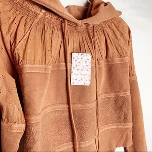 Free People | Burnt Orange Crop Hoodie